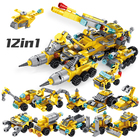 Panlos bricks 12in1 multifunction construction truck building blocks each model 2 changes toys for kids
