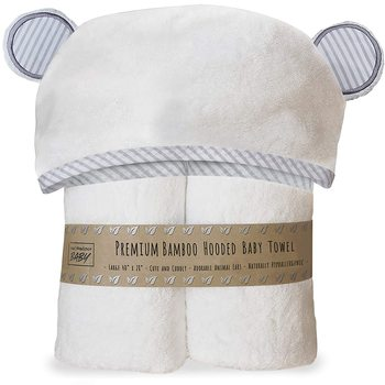 500 GSM Organic bamboo fiber baby hooded towel plain white soft premium terry cloth hooded baby bath towel