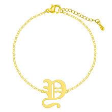 3 цвета шрифт капитал E начальный браслет женский браслет на ногу Мода Английский алфавит буквы 26 A-Z браслеты подарок на день рождения(Китай)