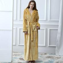 Женский длинный теплый фланелевый банный халат большого размера, зимний банный халат, халат подружки невесты с капюшоном, сексуальный хала...(Китай)
