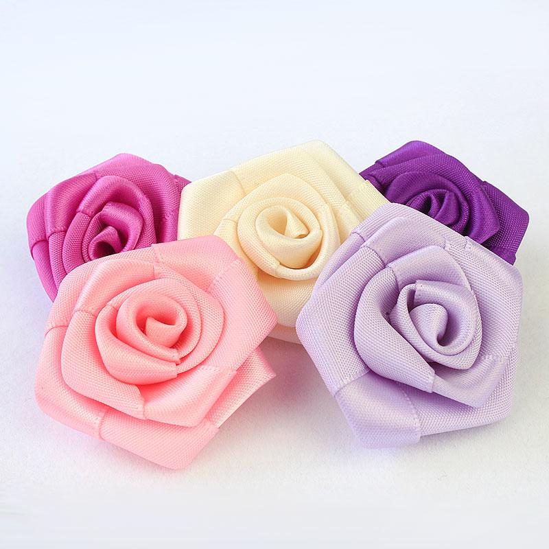 Ribbon Flowers Satin Roses Purple Satin Ribbon Flowers 25 Colors 3 Satin Fabric Flowers Satin Flower Ribbon Roses