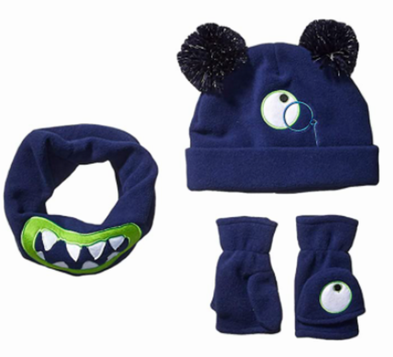 Amazon top-selling embroider navy blue soft fleece double layer Spotted Zebra Boys Fleece Hat neckwarmer Mittens for kids