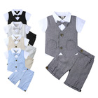 2019 summer gentleman short-sleeved handsome knitted cotton shirt two-piece newborn baby clothes boys clothing sets