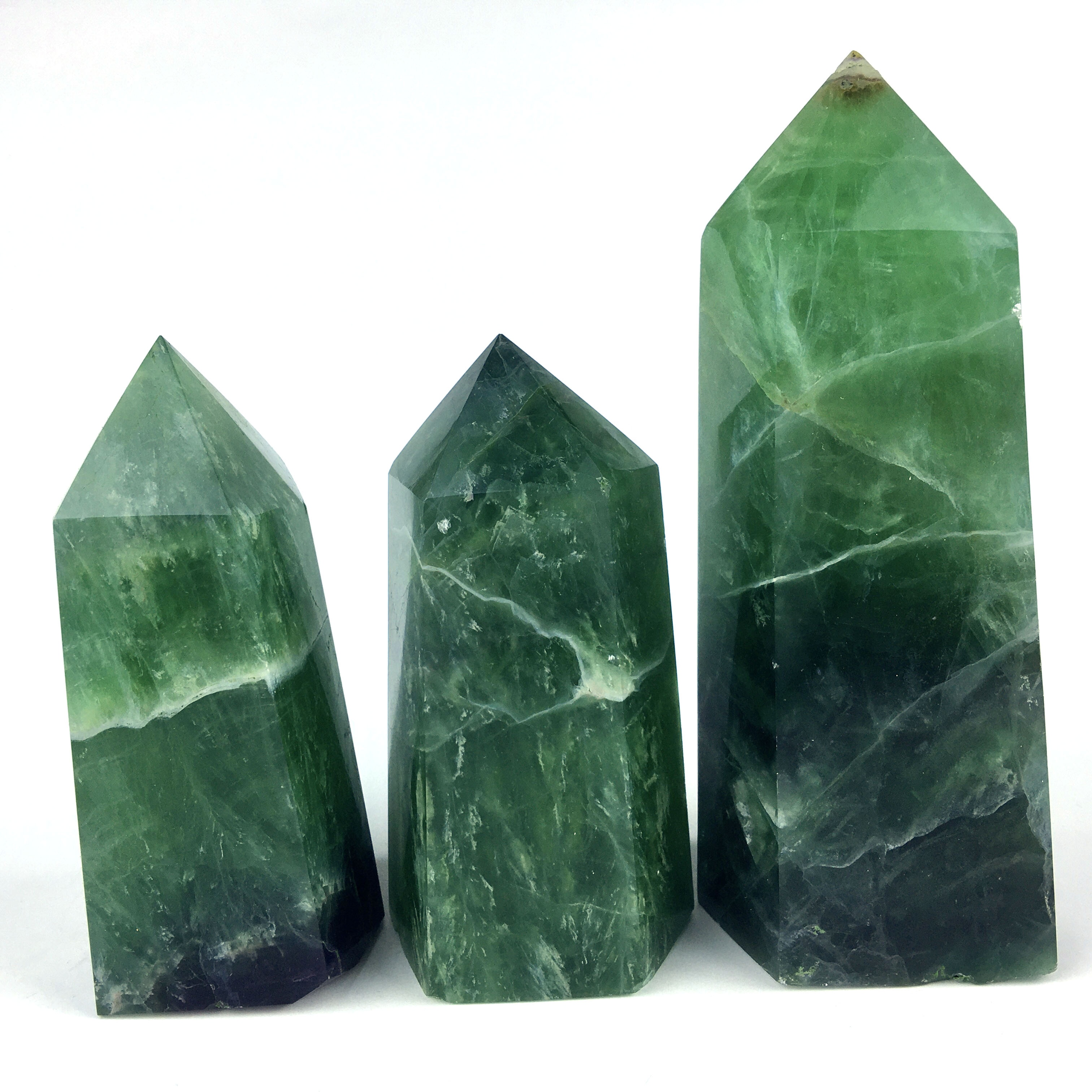 Wholesale Natural Quartz point Green fluorite crystal large tower