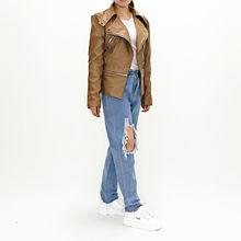 Женская кожаная куртка XUANSHOW, мотоциклетная куртка на молнии с длинным рукавом и карманами, верхняя одежда из искусственной кожи, Осень-зима ...(Китай)