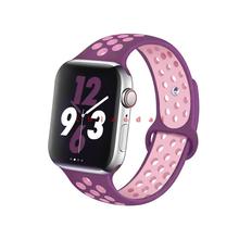 Спортивный силиконовый ремешок для Apple watch 44 мм 42 мм iWatch 40 мм 38 мм, спортивный Браслет Apple watch 5 4 3 2 1, аксессуары(Китай)