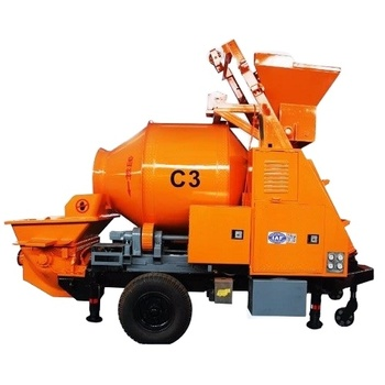 XDEM Trailer Mounted Concrete Mixing Pump With Electric Motor Mobile Ready Concrete Mixer with Pump Portable