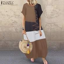 Женское винтажное длинное платье с цветочным принтом ZANZEA, повседневные мешковатые вечерние платья с коротким рукавом размера плюс, пляжный...(Китай)