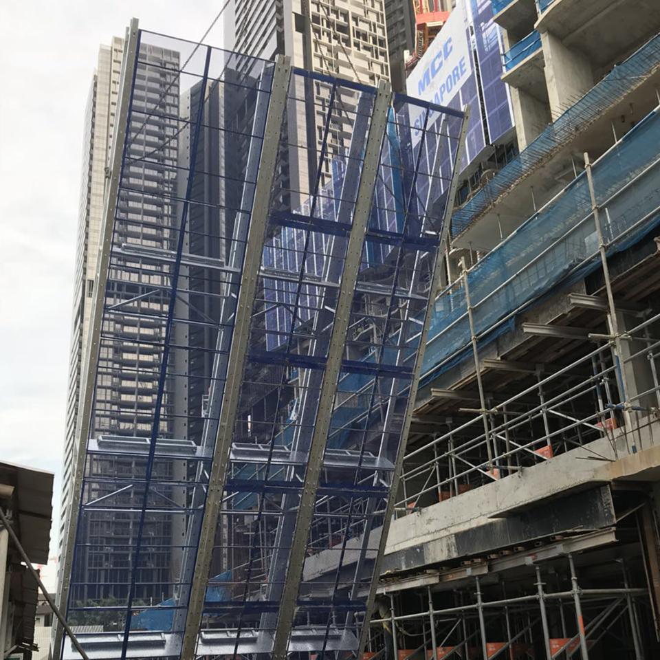 High-rise facade construction easy dismantle shuttering self-climbing scaffolding