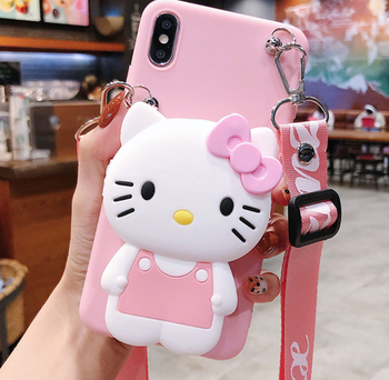 KT Cat 3D Cute Doll Strap Hello Kitty Soft Case for iPhone 11 Pro Max 11Pro 7 8 X Xs Max