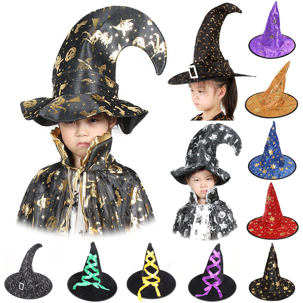 Kids Wizard Hat Satin Witch/'s Pointed Hat Halloween Costume Accessories