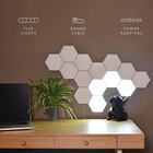 Family Night Light Wall Lamp 5 Pcs Per Sets Splice Hand Touch Bright Modular Night Light Hexagonal Black Family Quantum Lamp Honeycomb Induction Wall Lamp