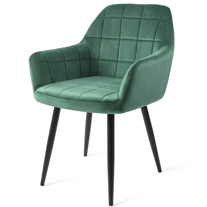 Modern Design Hotel Coffee Velvet Fabric Armchair Black Metal Legs Comfortable Dining Chair