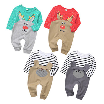 wholesale infant toddler pajamas clothes crotch snaps moose baby christmas rompers