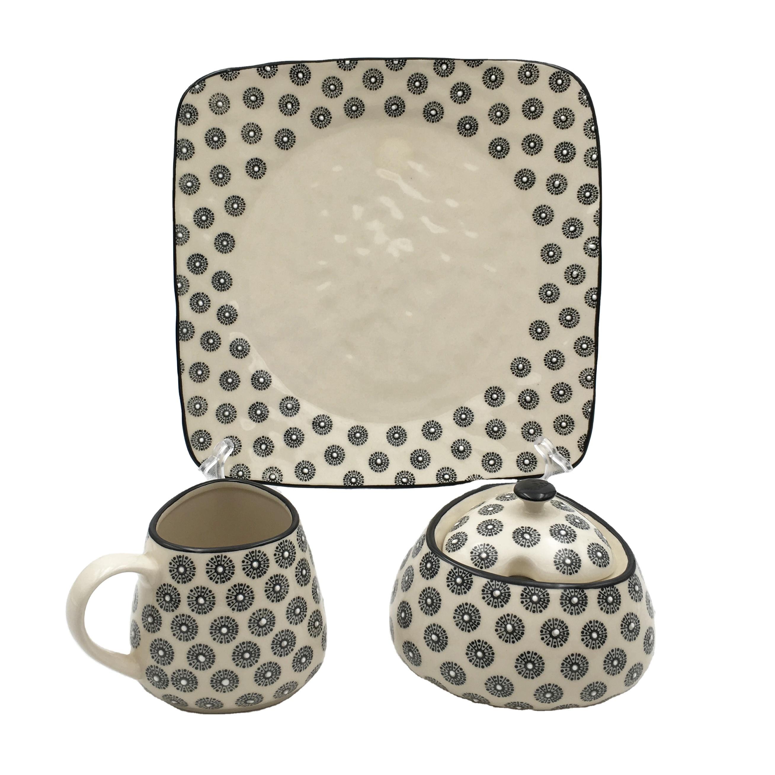 Hand stamped ceramic milk pot