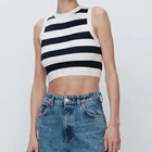 Vest Women Custom Design Knit Vest Summer Striped Vest Women Knit Crop Knit Vest Camisoles
