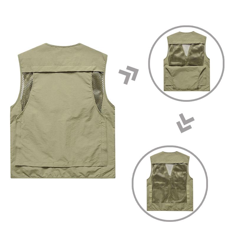 Новинка 2021, качественные повседневные мужские охотничьи рыболовные снасти с несколькими карманами, жилеты со съемным задним карманом, походный жилет
