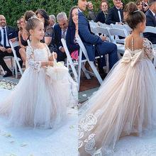Классическое Тюлевое платье с цветочным узором для девочек, с бантом, с кружевной аппликацией, с длинными рукавами, для свадьбы, дня рождени...(China)