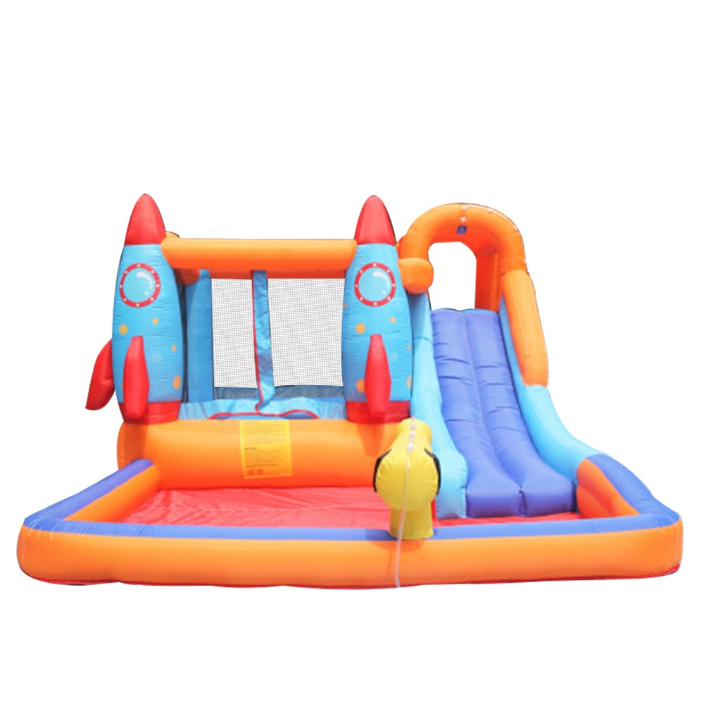 Residential Non Phthalates Inflatable Rocket Water Slide and Pool