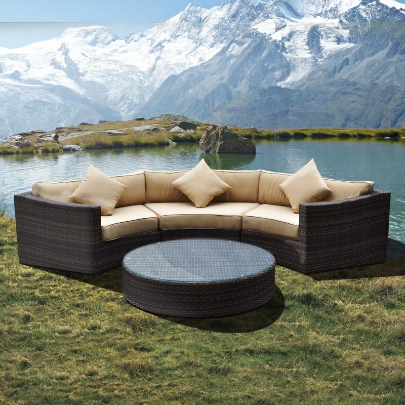 Набор синтетической садовой мебели, полукруглые секционные диваны из ротанга