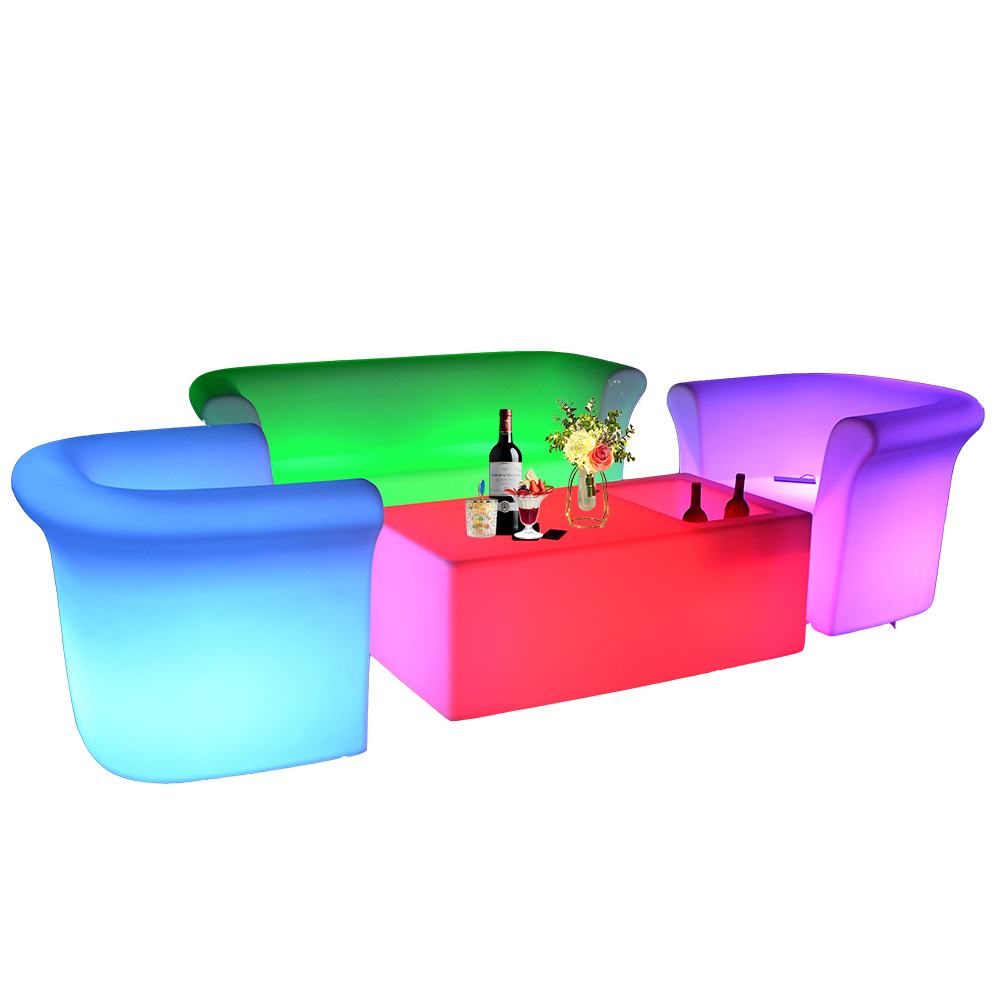 light up rechargeable outdoor high top cocktail led bar furniture table and chairs led round tables for event party garden