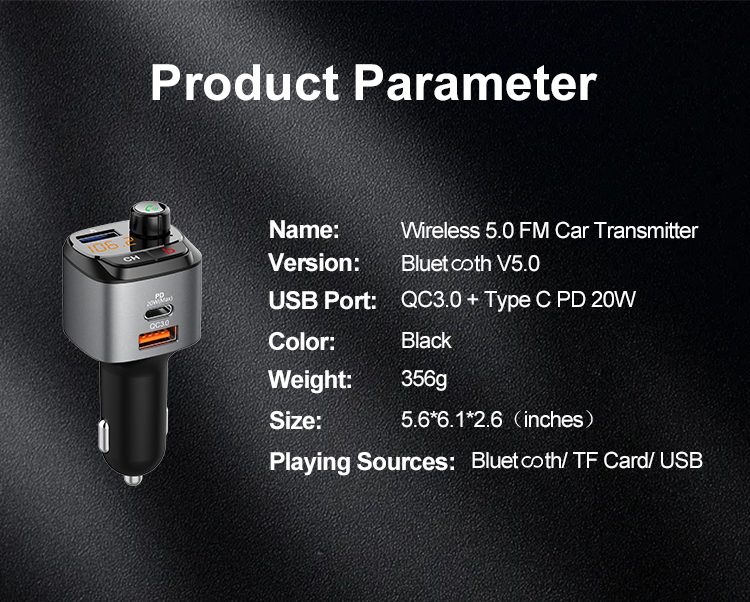 Wholesale High Quality BT5.0 QC PD Fast Charging FM Transmitter Wireless car adapter charger