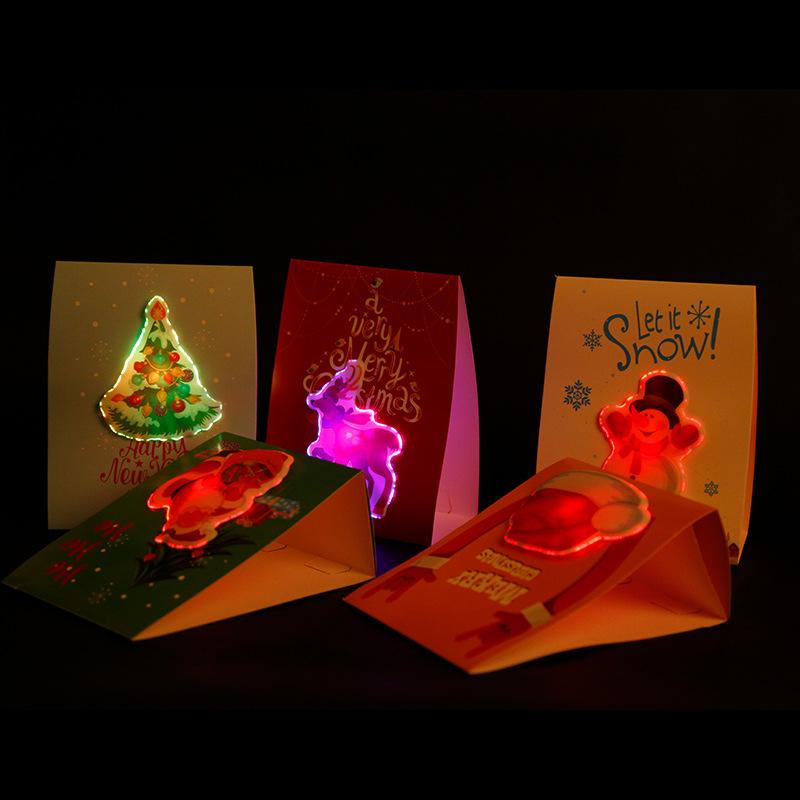 Праздничные рождественские и Новогодние поздравительные светодиодные рождественские открытки
