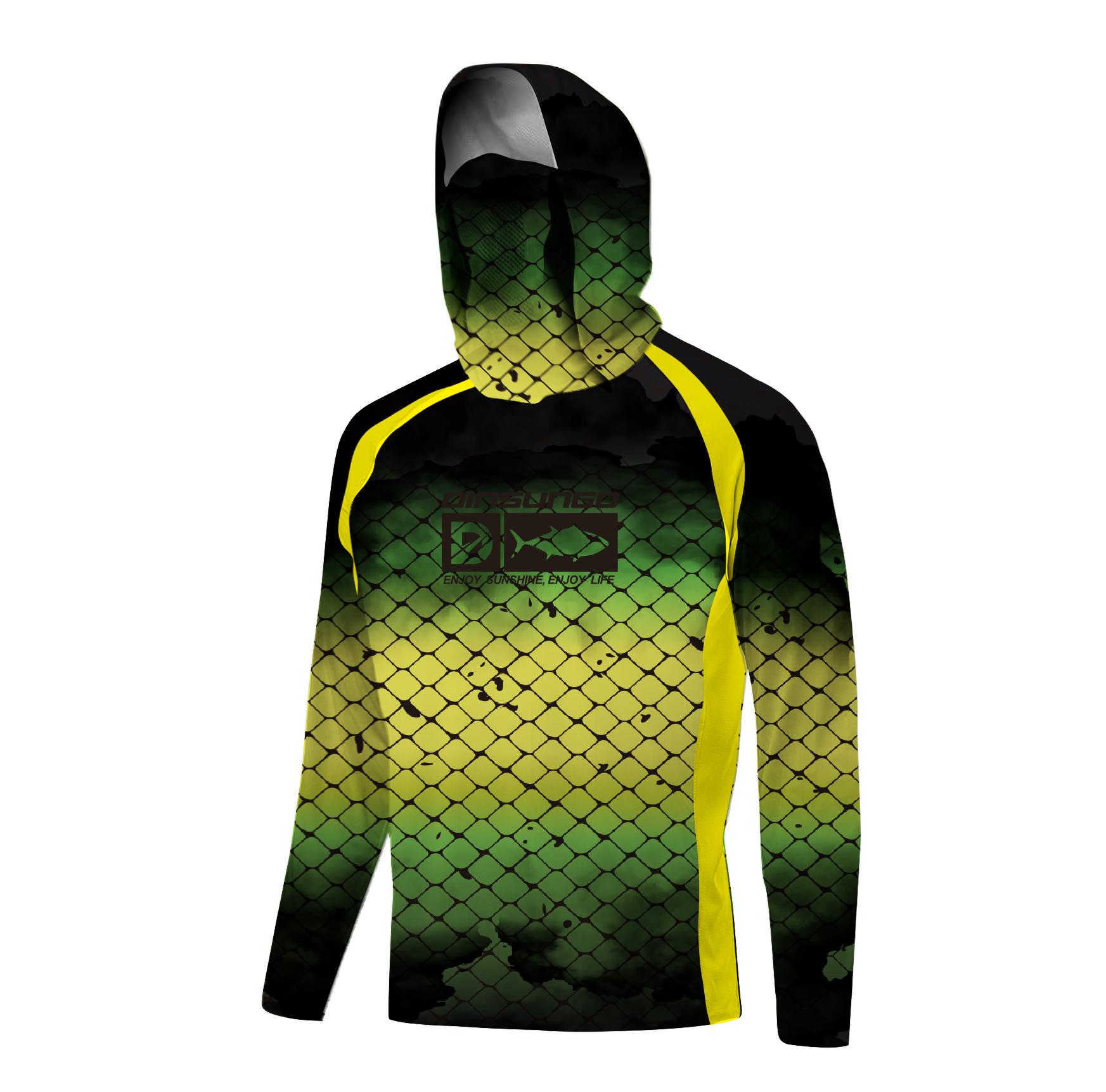 upf 50+ quick-drying breathable fishing shirts long-sleeved custom design mask hooded fishing hoodie