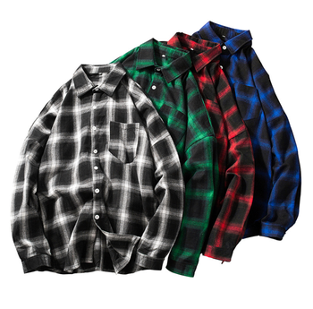 Men Fashion High Quality Long Sleeve Checked Casual Plaid Wholesale Factory Flannel Shirt