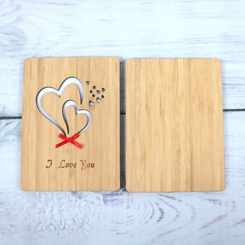 I Love You Card Handmade Wooden Greeting Cards For Happy Valentines Day Card
