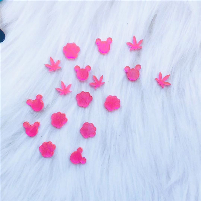 B1159 DIY Shiny Resin Silicone Weed Leaf Paw Print Mouse Head Earring Mold