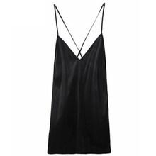 Женская шелковая ночная рубашка без рукавов, летняя простая черная ночная рубашка с v-образным вырезом, ночная рубашка из натурального шелк...(Китай)