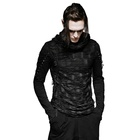 Hot sale men's black Gothic long sleeve shirt T-438 hooded high street wear