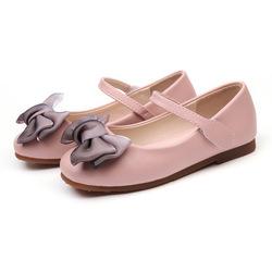 Детские кожаные туфли принцессы с бантом для девочек