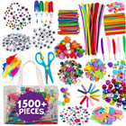 Kids Arts and Craft Supplies- DIY Projects Pipe Cleaners Pom Poms Feather Popsicle Sticks Buttons Sequins Craft Materials