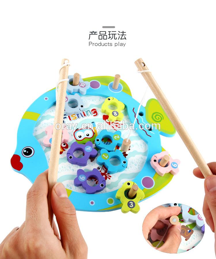 2019 Монтессори развивающая Магнитная рыболовная игра деревянная игрушка для детей
