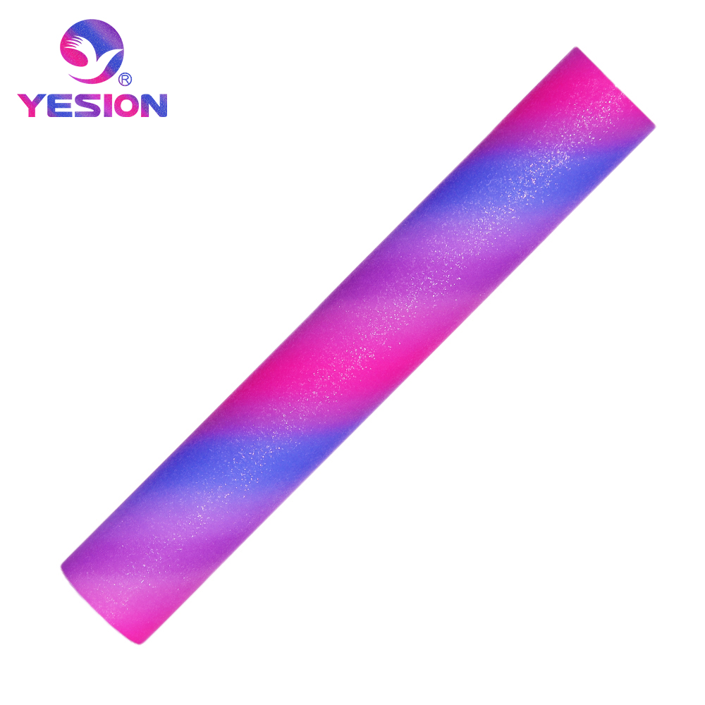 YESION 1 feet x 5 feet (305mm*1.52m) Rainbow Glitter permanent vinyl roll adhesive craft cutting vinyl roll