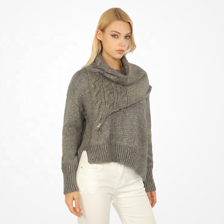 Newest Design Fashion Fall Winter TurtleNeck Knitted Wool Sweater Women