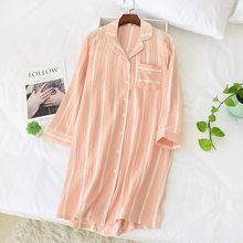 Женская рубашка для сна в полоску, 100% хлопок, домашняя одежда размера плюс с длинным рукавом, женская сексуальная ночная рубашка, длинная по...(Китай)