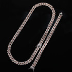 Gold Plated Half Rose Gold And Rhodium Plated Pink Crystal Zircon Micro Pave Copper Miami Cuban Link Chain Neckalce