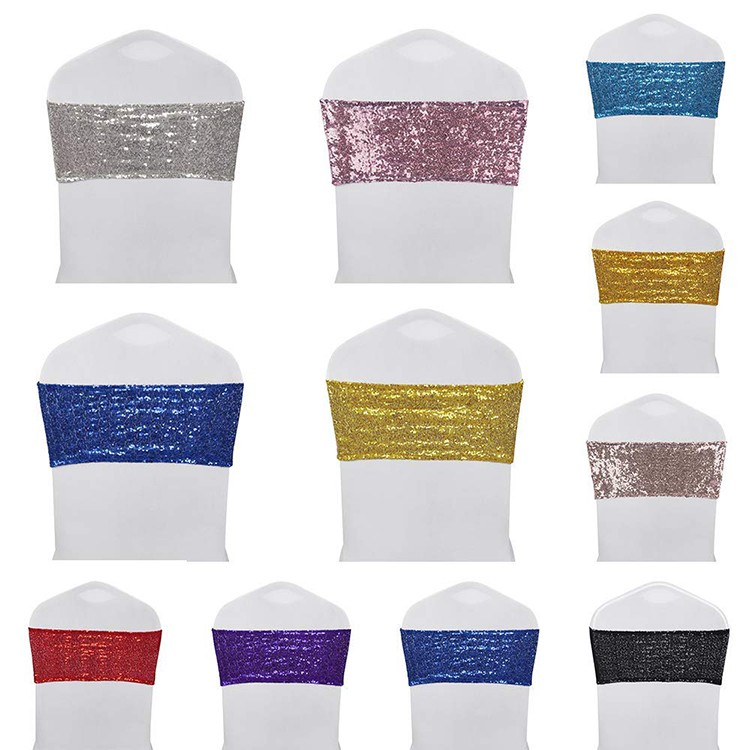 high quality spandex wedding silver sequin chair sashes stretch bands