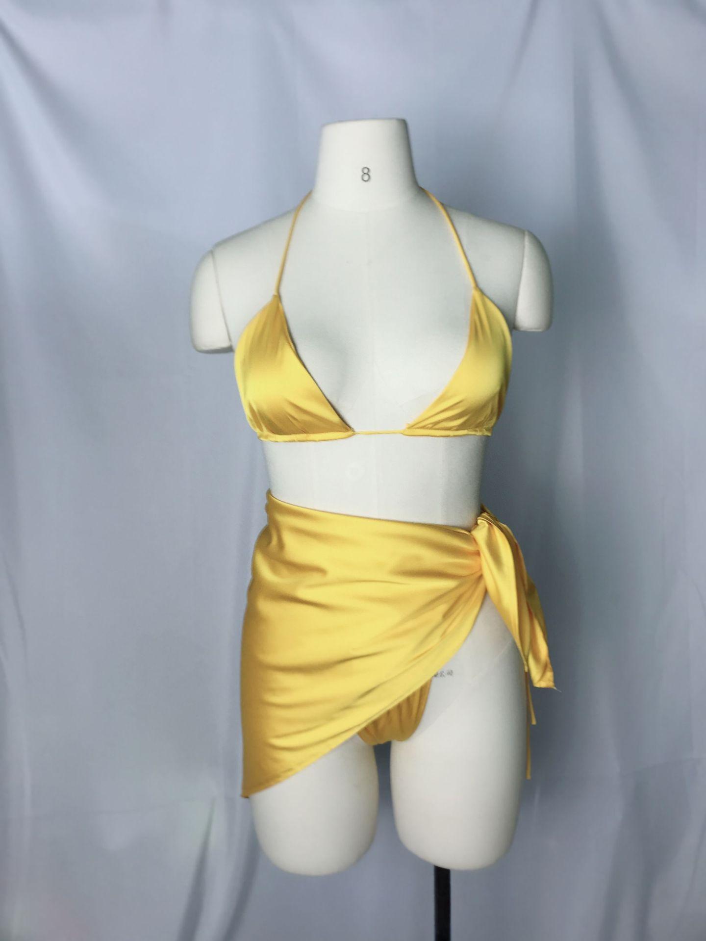 2021 с лямкой на шее bathingsuits женские купальники, купальный костюм, женский комплект из трех предметов; 3 шт./набор бикини купальный костюм комплекты с юбкой для малышек