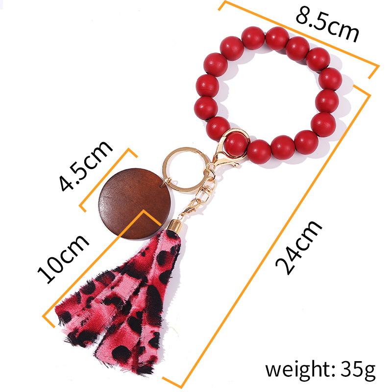 DDA2355 Disc Bracelet Keychain Personalized Wood Beaded Bracelet Tassel Key Rings DIY Monogram Tassel Wooden Bead Keychains