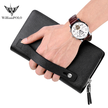 WILLIAMPOLO Brand Men Clutch Bag Fashion Leather Long Purse Double Zipper Business Wallet Black Blue Male Casual Handy Bag