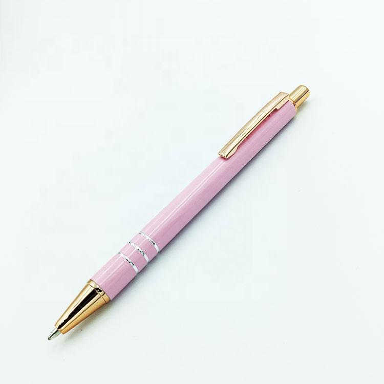 Ярко-розовая металлическая ручка для плавного письма с лазерным логотипом