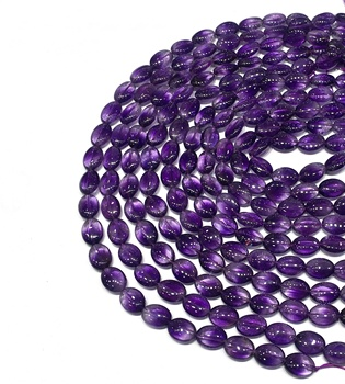 Natural Amethyst Oval Cut Highly Polished Loose Bead Healing Stone Gems for Jewelry Handmade Making DIY Bracelet Necklace Design