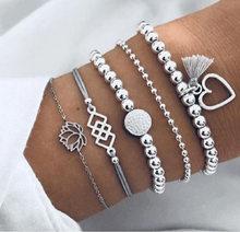 Европейский и американский модный браслет, ювелирные изделия, новый браслет с кисточками и бусинами, костюм из пяти предметов, ножной брасл...(Китай)