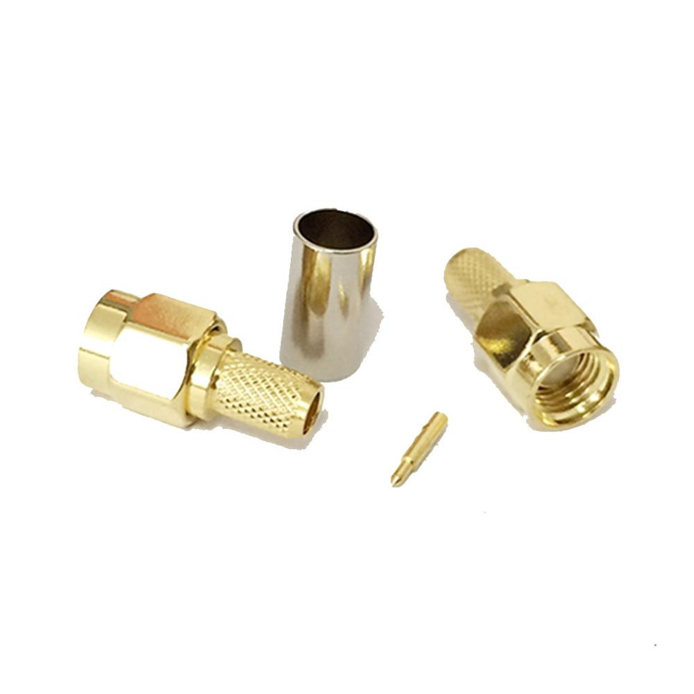 Standard polarity SMA male connector crimping type for RG58 LMR400 LMR195 LMR223