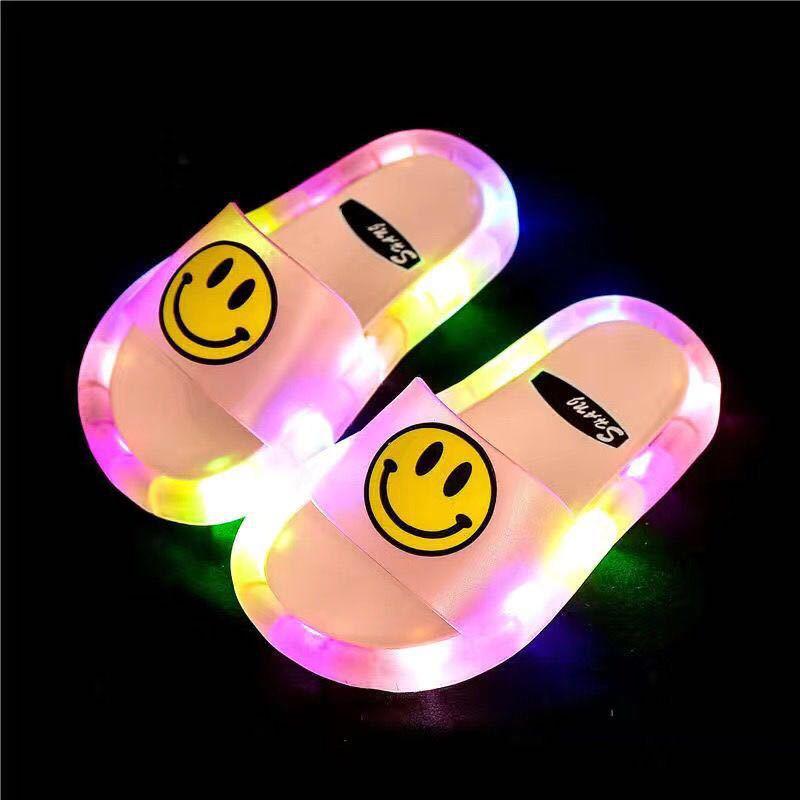 Новое поступление, модные детские тапочки со светодиодной вспышкой, уличная Маргаритка с улыбающимся лицом