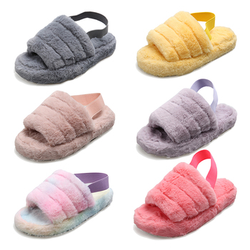 Wholesale Customize 2020 Fashion Designer Outdoor House Bedroom Indoor Pink Fuzzy Plush Ladies Furry Slippers for Women